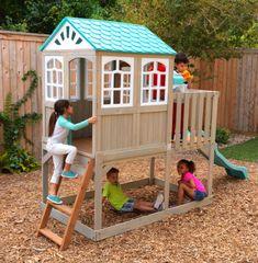 Complex de joacă Highline Retreat Wooden Playset - KidKraft  Nu este nimic mai frumos decât un copil fericit!🤩🤩🤩 Creează amintiri de neuitat cu acest complex de joacă în  care veți descoperi căsuța de joacă unică cu terasă ce le va oferi copiilor senzația unei căsuțe în copac, cu sonerie funcțională la ușa de intrare, tobogan pe care să alunece la nesfârșit, zonă de joacă umbroasă sub căsuță.🏤🏤🏤 Childrens Garden Toys, Kids Garden Toys, Garden Games, Children Garden, Childrens Playhouse, Garden Fun, Summer Garden, Playset Slides, Summer Holiday Activities