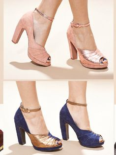 """""""Come Get Me"""" - Seychelles #heels #vintage #pleats. I think I love these. The top pair looks pink here, but I think they are supposed to actually be more of a nude."""