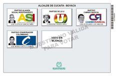 Tarjetón de elección para Alcalde de Cucaita