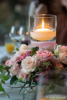 Pretty centerpieces or arrangement in memory of a loved one at your wedding Wedding Centerpieces, Wedding Table, Wedding Decorations, Table Decorations, Beautiful Candles, Beautiful Flowers, Romantic Candles, Beautiful Life, Chandelier Bougie