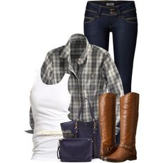 Country Girl in Flanel by casuality on Polyvore featuring Soaked in Luxury, Pepe Jeans London, Frye, Sole Society and country