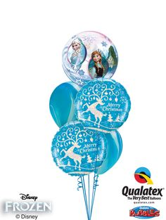 A unique clear Bubble Balloon® featuring Elsa, Anna, and Olaf* is paired with Microfoil balloons printed with deer and icy blue SuperAgate® latex balloons.*Disney licensed product, other items not Disney licensed product ©Disney Its A Boy Balloons, Bubble Balloons, Latex Balloons, Balloon Ideas, Balloon Decorations, Christmas Decorations, Disney Princess Birthday, Frozen Birthday, Disney Disney