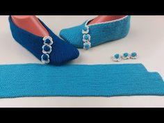 HEMEN ÖR HEMEN GİY DÜZ ÖRÜLEN KADIN PATİK | Nazarca.com Knitting Socks, Free Knitting, Baby Knitting, Knitting Patterns, Crochet Patterns, Knitted Flower Pattern, Crochet Slipper Pattern, Crochet Slippers, Woolen Socks