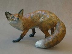Fox 205 Dog Sculpture, Pottery Sculpture, Animal Sculptures, Ceramic Animals, Clay Animals, Ceramic Art, Hunting Themes, Ap Studio Art, Fox Art