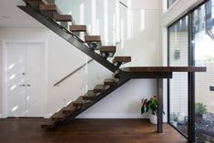 Steel Stairs Design, Staircase Design Modern, Metal Stairs, Wooden Stairs, Stair Design, Auckland, Craftsman Staircase, Cantilever Stairs, House Outside Design