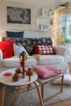 Ektorp (whtite) Christmas-Time 2014 . . . with Red & Grey, shades of Blue & Wood (IKEA, HABITAT, Linum pillow, Klippan blanket, Bold & Noble print)