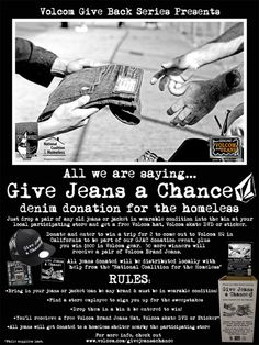 """Every year Archies gets involved in """"Give Jeans a Chance"""" sponsored by Volcom. Customers bring in their gently used Denim for Volcom swag and Archies donates it to a charity in need usually the YOU (Youth Opportunities Unlimitied). Old Jeans, Giving Back, Charity, Swag, Youth, Bring It On, Events, Denim, Sayings"""