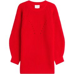 Claudia Schiffer Wool Pullover ($365) ❤ liked on Polyvore featuring tops, sweaters, red, cut-out crop tops, print crop tops, red sweater, cropped pullover sweater and wool pullover