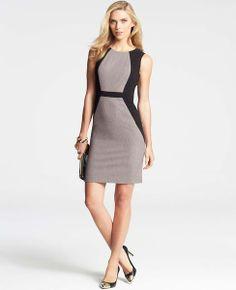 Colorblocked Tweed Sheath Dress