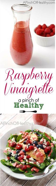 Raspberry Vinaigrette Dressing - 4 ingredients, vegan and gluten free| APinchOfHealthy.com