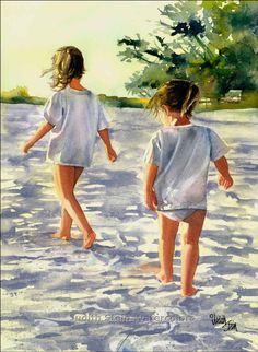 Morning March is an Open Edition Giclee Art featuring sisters Hannah and Ella marching along the seashore in the early morning sun. Painting Prints, Painting & Drawing, Watercolor Paintings, Art Prints, Watercolours, Beach Watercolor, Painting People, Beach Art, Seaside Art