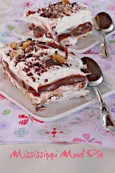 Mississippi Mud Pie! just looking at this picture fills me with childhood memories. Can't wait to make it for my kids!