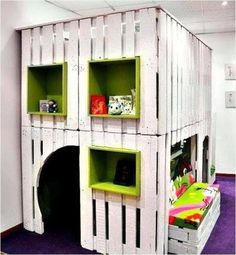 Pallet Playhouse for Kids from Reclaimed Wood | Pallet Furniture Plans...just outside and not in the house