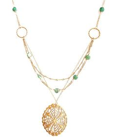 Alicia Marilyn Designs | Vintage Collection: Necklaces -Triple Strand Brass Necklace with Aventurine and Vintage Filigree Pendant