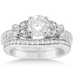 Allurez-Floral-Engagement-Wedding-Bridal-Band