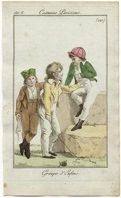 Journal des Dames et des Modes, 1798. OH MY GOD. SO CUTE. Look at his little baseball hat! It's 18th century little rascals!