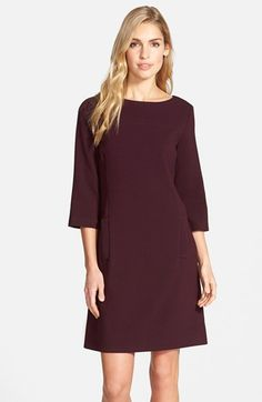 Free shipping and returns on Eliza J Pocket Detail Crepe Shift Dress at Nordstrom.com. Besom pockets front and center add a chic detail to a polished bateau-neck shift fitted with princess seams and back darts for a flattering, nipped silhouette.