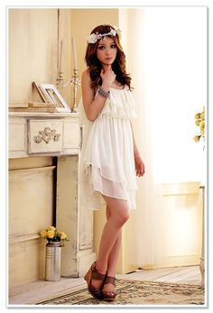 JK2  Sleeveless Ruffled Chiffon Dress from YesStyle $35