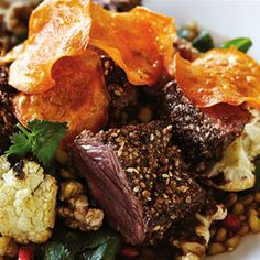 Enjoy tender kangaroo fillets served with a roast cauliflower and pomegranate salad and garnished with sweet potato discs. Australian Recipes, Australian Food, Kangaroo Meat Recipe, Healthy Food Choices, Healthy Recipes, Side Dish Recipes, Dinner Recipes, Swedish Cuisine, Squirrel Food