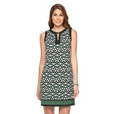 Women's Suite 7 Abstract Print Shift Dress, Size: 8, Green Oth