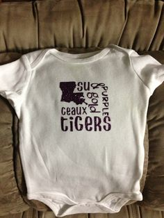 Purple glitter vinyl LSU onesie! Just in time for game day!! GEAUX TIGERS !