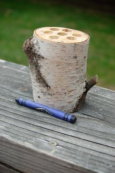 Natural Birch Log Pencil or Crayon Holder  by ElementalHandcrafts, $15.00