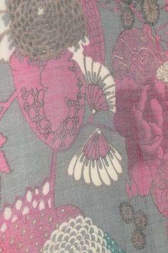 Floral GreyPink Wool Scarf
