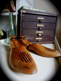 Vintage Men's Wooden Shoe Forms  Repinned by www.silver-and-grey.com