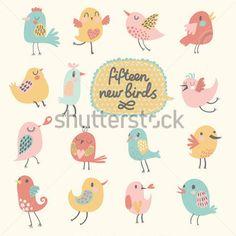 Lindos pájaros en vector. Conjunto de dibujos animados, quince aves divertidas en colores pastel