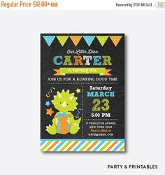 Dinosaur Birthday Invitation, Dinosaur Invitation, Dinosaur Birthday Party, Green, Kids First Birthday, Personalized, Chalkboard (CKB.221)