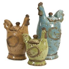 Add some color to a farmhouse inspired room with this assortment of three lidded roosters. The canisters feature a distressed glaze finish to really complete that rustic feel.