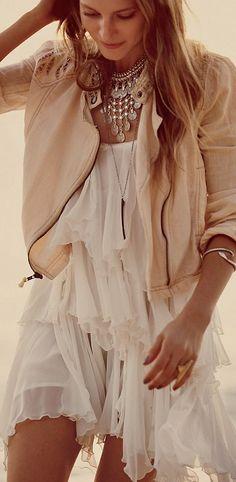 Moto jacket + Chiffon dress = Edgy femme perfection