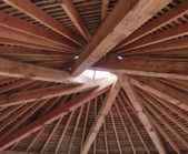 Timber Frame Reciprocal Roof for the greenwood workshop at Steiner Academy Hereford (HOF)