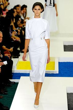 Jil Sander runway: patches of differently colored carpet