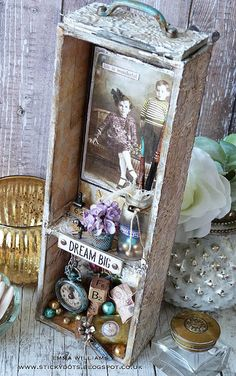 That's Life: Life Is Wonderful ~ Dream Big Altered Boxes, Altered Art, Paris Crafts, Shadow Box Memory, Wonderful Dream, Crackle Painting, Metal Clock, Distressed Painting, Assemblage Art