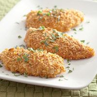 Oven-Fried Chicken Breasts  This recipe crisps chicken in the oven rather than in a skillet or deep-fat fryer, cutting down on calories and fat. Calories: 267  Protein(gm): 37  Carbohydrate(gm): 23  Fat, total(gm): 2  Cholesterol(mg): 88  Saturated fat(gm): 1  Dietary Fiber, total(gm): 1  Sodium(mg): 336  Diabetic Exchanges  Starch(d.e): 2  Very Lean Meat(d.e): 5