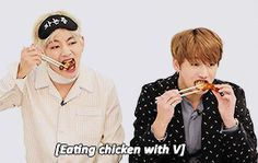 Tae and Kookie eating chicken but awwwww Jungkookie looks so cute eating