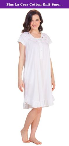 Plus La Cera Cotton Knit Smocked Cap Sleeve Nightgown in White Sweetness (1X (18W-20W), White/Pink Rosebuds). Plus Cotton Nightgowns - The perfect gift for a loved one or for yourself, this La Cera plus size nightgown will pamper the wearer in softness and style. This cotton knit nightgown comes in White Sweetness with a gorgeous smocked bodice with pink and green embroidery.