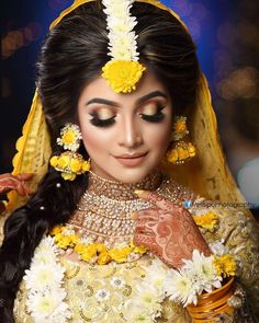 We Provide Exclusive Gaye Holud Jewelry,Wedding Jewelry, and Artificial Flowers Hair Bun. Authentic Store of Women's Luxury Wedding Goods. To Get Any Worldwide vice Within Your Demands.Call us or Whatsup us Bridal Makup, Pakistani Bridal Makeup, Pakistani Wedding Outfits, Indian Bridal Outfits, Bridal Makeup Looks, Bridal Looks, Wedding Makeup, Bridal Mehndi Dresses, Bengali Bride