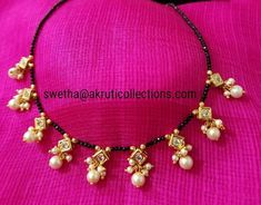 Black chain Jewelry Design Earrings, Gold Earrings Designs, Gold Jewellery Design, Bead Jewellery, Gold Drop Earrings, Beaded Jewelry, Gold Necklace, Gold Jewelry Simple, Black Thread
