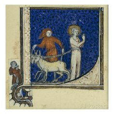 Historiated Initial 'L' Depicting the Martyrdom of St. Lucy, C.1320-30 (Vellum)