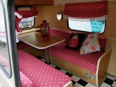 Exactly what I planned - red and white polka dots with black and white checked floor. Absolutely LOVE IT!!