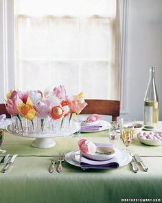 Egg-and-Crepe-Paper Flowers Centerpiece    Exuberant egg-and-crepe paper daffodils and tulips are a breeze to make -- and you don't have to worry about the arrangement wilting