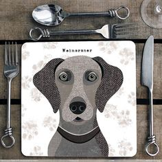 Weimaraner personalised placemat/coaster