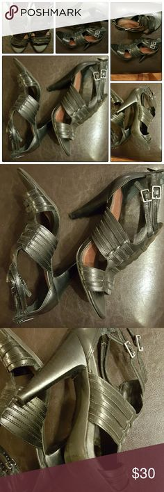 Gianni Bini Black Heels This is a fantastic pair of Gianni Bini Black Strappy Heels with a zip up back and double buckle. Worn only twice. Very good condition. These shoes are Super Comfy. Size 6M Gianni Bini Shoes Heels