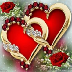 .TWO BEAUTIFUL RED AND GOLD HEARTS WITH RUBIES AND DIAMONDS.