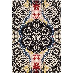 Christian Lacroix Souk Mulitcolore Area Rug by Designers Guild ($1,550) ❤ liked on Polyvore featuring home, rugs, black white area rug, designers guild rugs, white area rug, modern rugs and white modern rug