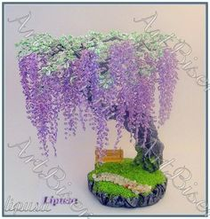 Discussion on LiveInternet - Russian Service Online diary Seed Bead Flowers, Wire Flowers, Wire Crafts, Bead Crafts, Seed Bead Art, Seed Beads, Wire Tree Sculpture, French Beaded Flowers, 3d Quilling