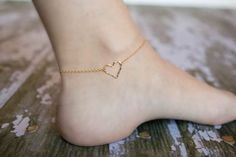 Gold Hammered Heart Anklet  14k Gold Filled  by SimplySweetStudio, $28.00