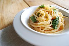 Spicy Japanese Style Spaghetti with Cod Roe and Spinach: Karashi Mentaiko (Spicy Cod Roe) Spaghetti with Spinach